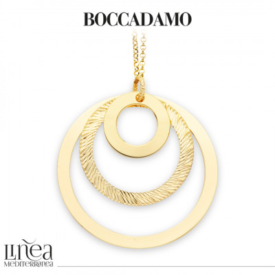Long yellow gold-plated necklace with concentric pendant