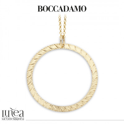 Long yellow gold plated necklace with diamond pendant
