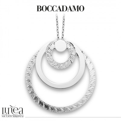 Rhodium-plated necklace with maxi concentric pendant
