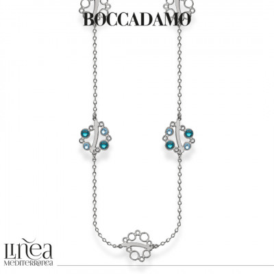 Long necklace with Swarovski crystal, aquamarine and blue zircon