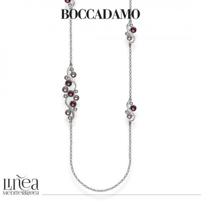 Long necklace with Swarovski crystal, light amethyst and amethyst