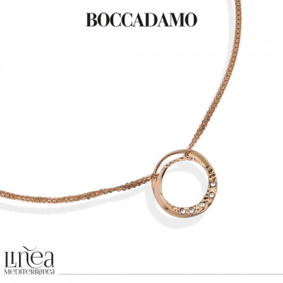 Rose gold plated necklace with circular pendant and Swarovski