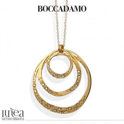 Yellow gold plated glue with movable concentric pendant and Swarovski