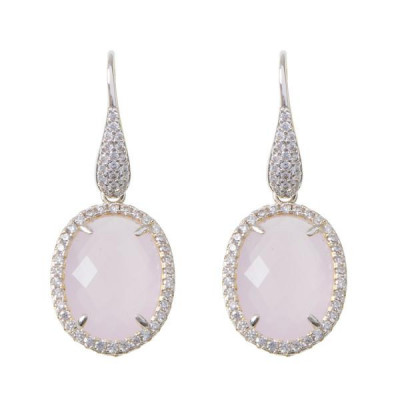 Earrings with zircons and briolette Crystal Pink