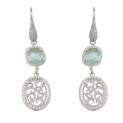 Earrings Pendant with zircons and crystal briolette milk and mint