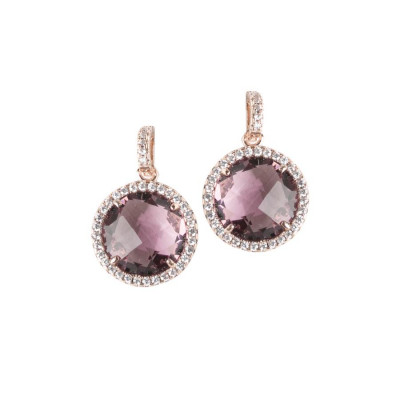 Pendant earrings with crystals amethyst and zircons