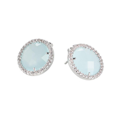 Earrings in the lobe with aquamilk crystals and zircons