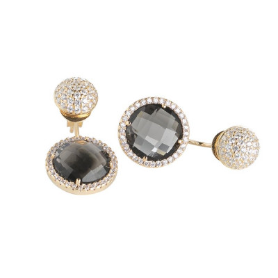 Reversible earrings with zircons and crystals smoky quartz