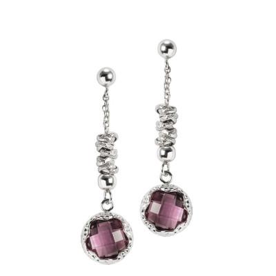 Pendant earrings with crystal amethyst