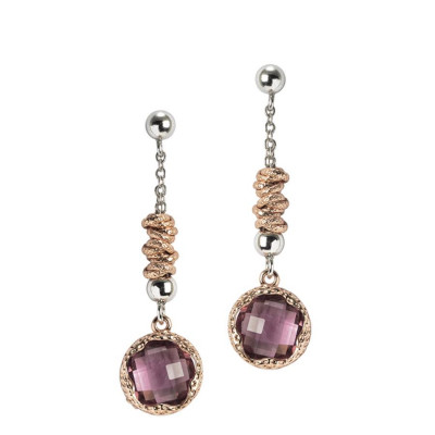 Pendant earrings with crystal color amethyst