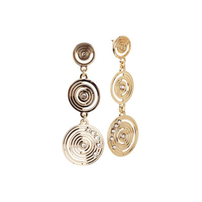 Pendant earrings Gold Plated yellow from the drawing concentric and Swarovski