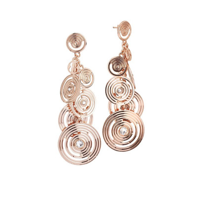 Pendant earrings gold plated pink bunch with Swarovski