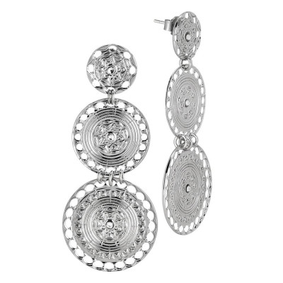 Earrings with circular pendants of Etruscan inspiration and Swarovski