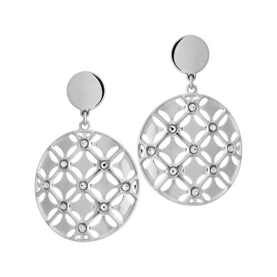 Earrings with circular pendant decorated in relief and Swarovski
