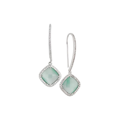 Earrings with hook monachella, crystal green mint and zircons
