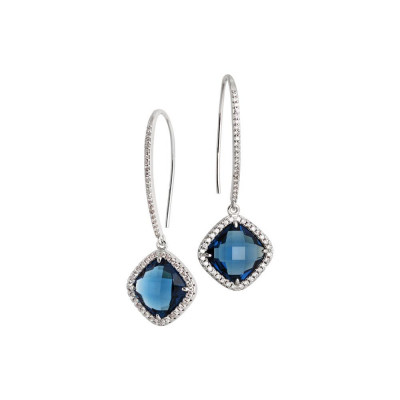 Earrings with hook monachella, crystal blue montana and zircons