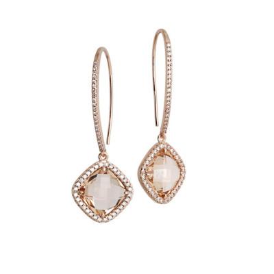 Earrings with hook monachella, crystal peach and zircons
