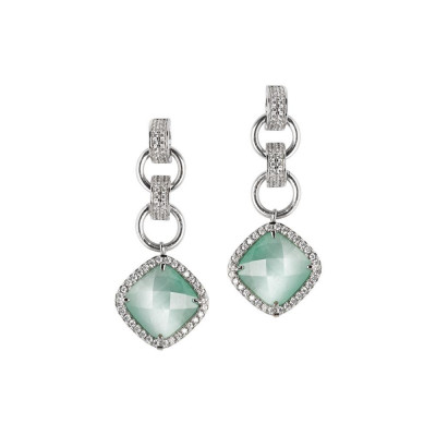 Earrings with crystal green mint pendant and zircons