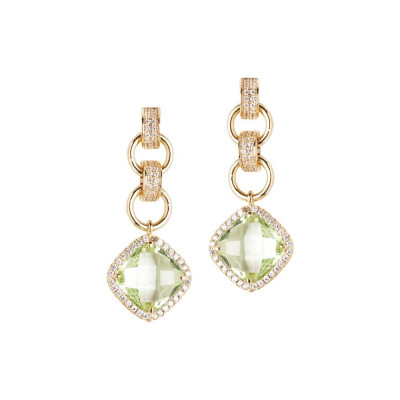 Earrings with crystal pendant chrysolite and zircons