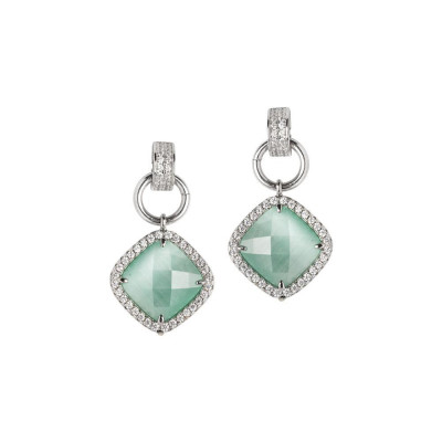 Pendant earrings with crystal green mint and zircons