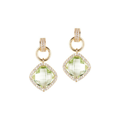 Pendant earrings with crystal chrysolite and zircons