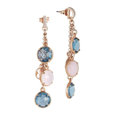 Earrings a sprig of crystals sky and pink quartz milk