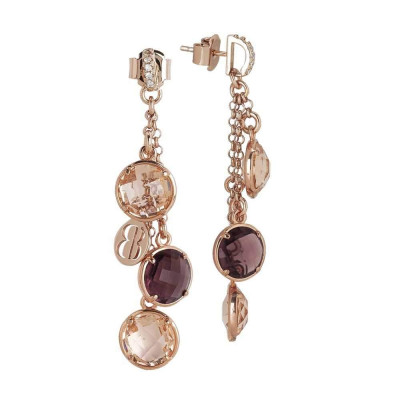 Earrings a sprig of crystals amethyst and peach