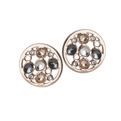 Earrings plated lobe pink gold with Swarovski
