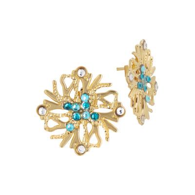 Lobe coral earrings and green Swarovski