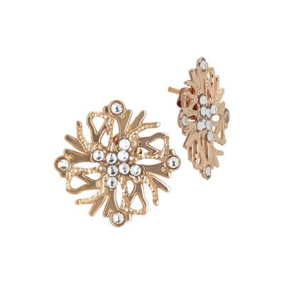 Coral lobe earrings and Swarovski crystal