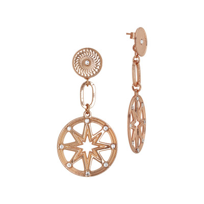 Rose gold plated earrings flower of life and Swarovski