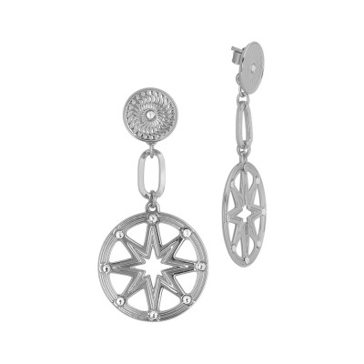 Rhodium plated earrings flower of life and Swarovski