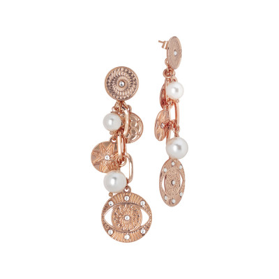 Horus eye rose gold plated earrings and Swarovski pearls