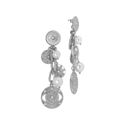 Rhodium-plated eye of Horus and Swarovski pearls