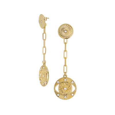 Yellow gold plated earrings with Horus and Swarovski eye pendant