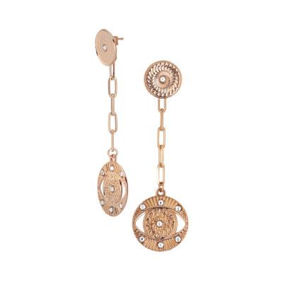 Rose gold plated earrings with Horus and Swarovski eye pendant
