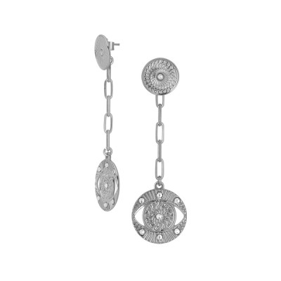 Rhodium-plated earrings with Horus and Swarovski eye pendant