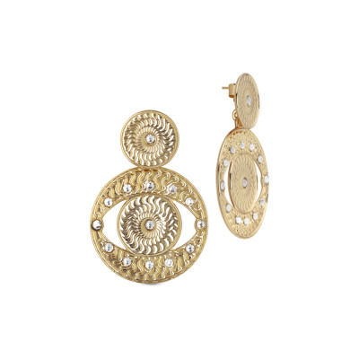 Yellow gold plated pendant earrings Eye of Horus with Swarovski