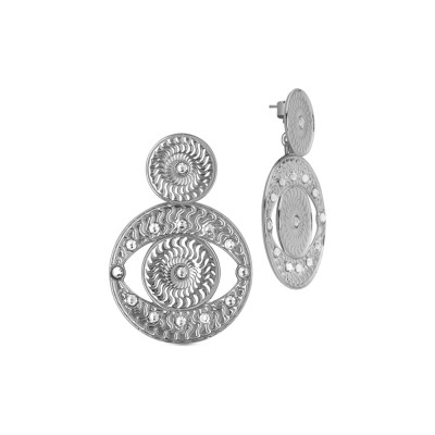 Rhodium-plated pendant earrings with Horus eye with Swarovski