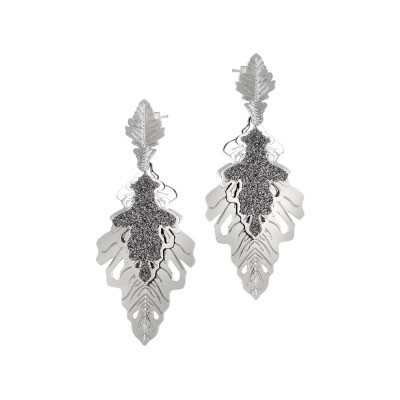 Rhodium-plated earrings with two hanging oak leaves