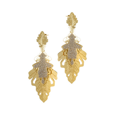 Yellow gold plated earrings with two hanging oak leaves
