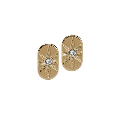 Yellow gold plated stud earrings and Swarovski