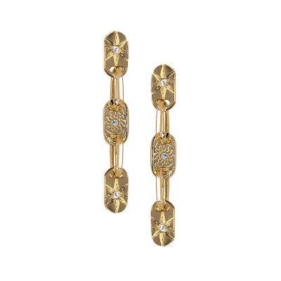 Yellow gold plated and Swarovski modular earrings