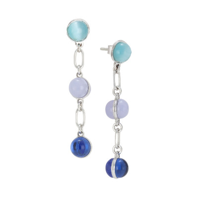 Earrings with cabochons with blue shades