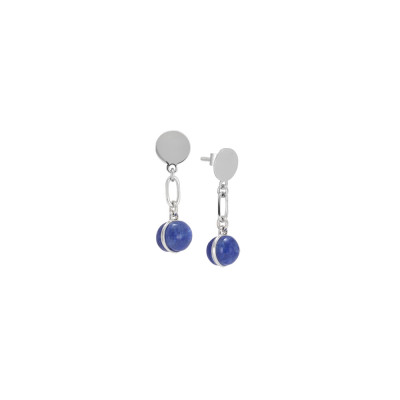 Earrings with rutilated blue cabochon