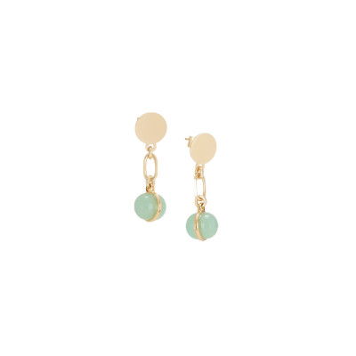 Earrings with milk and opaque mint cabochon