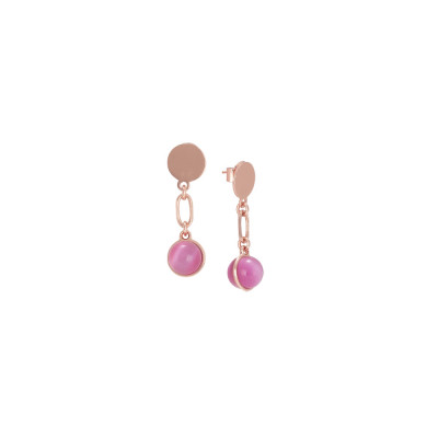 Earrings with fuchsia cabochon
