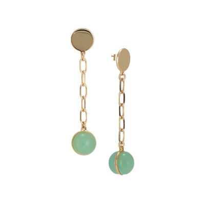 Chain earrings with large milk cabochon and opaque mint
