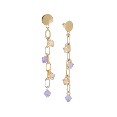Pendant earrings with Swarovski golden shadow and violet crystals
