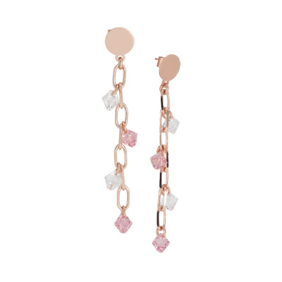 Pendant earrings with Swarovski crystal and light rose